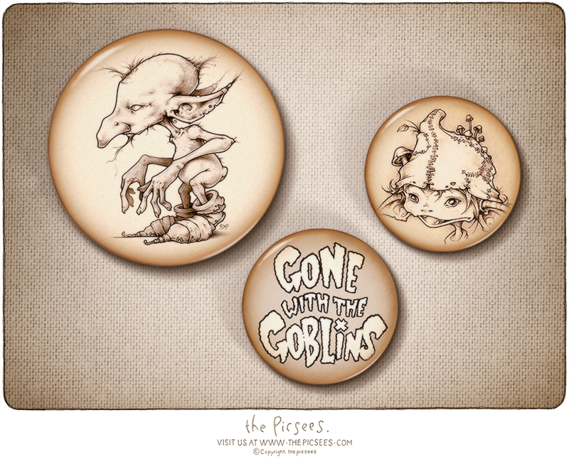 a set of goblin button badges