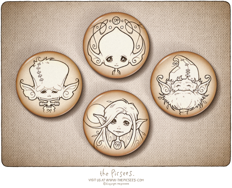 a set of 4 button badges featuring Mika Macaroon's inkypic portraits