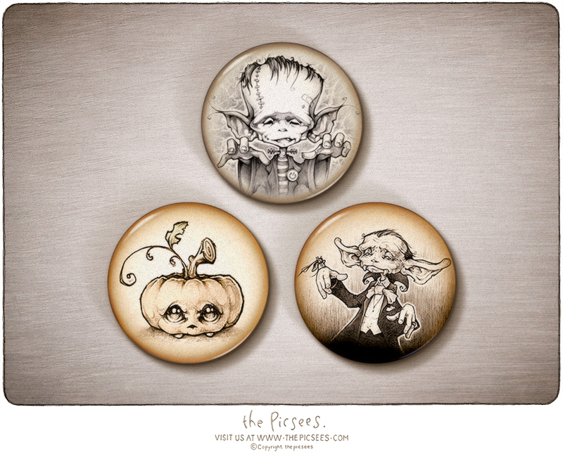 a set of 3 magnets featuring some Halloween picsees