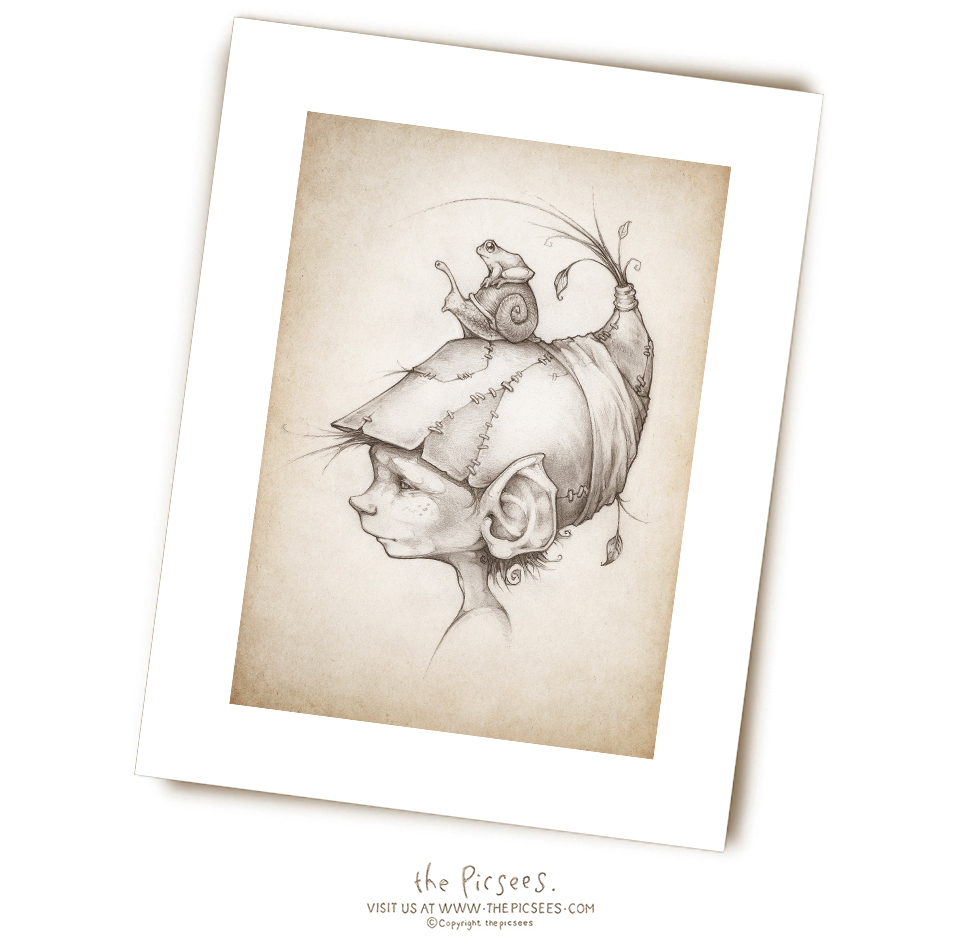 a limited edition print of a wee Burrow Elf named Root
