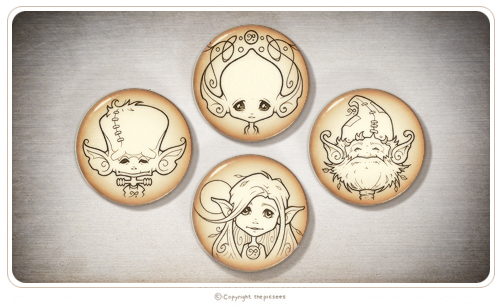 a set of 4 magnets featuring Mika's inkypic portraits.