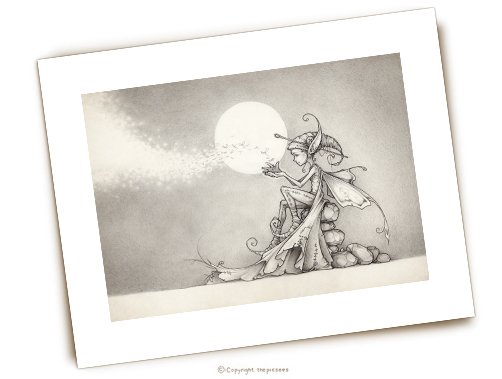 a limited edition print of a wee firefly faerie